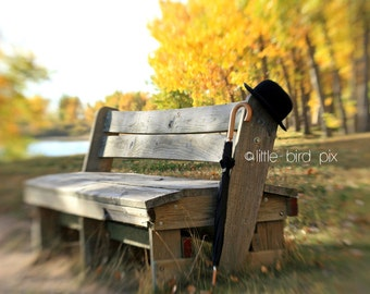 Magritte Inspired Umbrella and Bowler Hat on Wooden Bench - 8 x 10 - Fine Art Photography Print