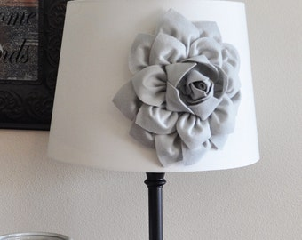 Gray Dahlia Lampshade Flower Accessory Magnet -Lamp Shade Flower Embellishment- NEW COLLECTION