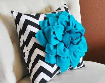 Teal Couch Pillow- Turquoise Flower Filled Pillow Cover - Turquoise Pillow - Decorative Throw Pillow - Bed Cushion - Black Chevron Pillow
