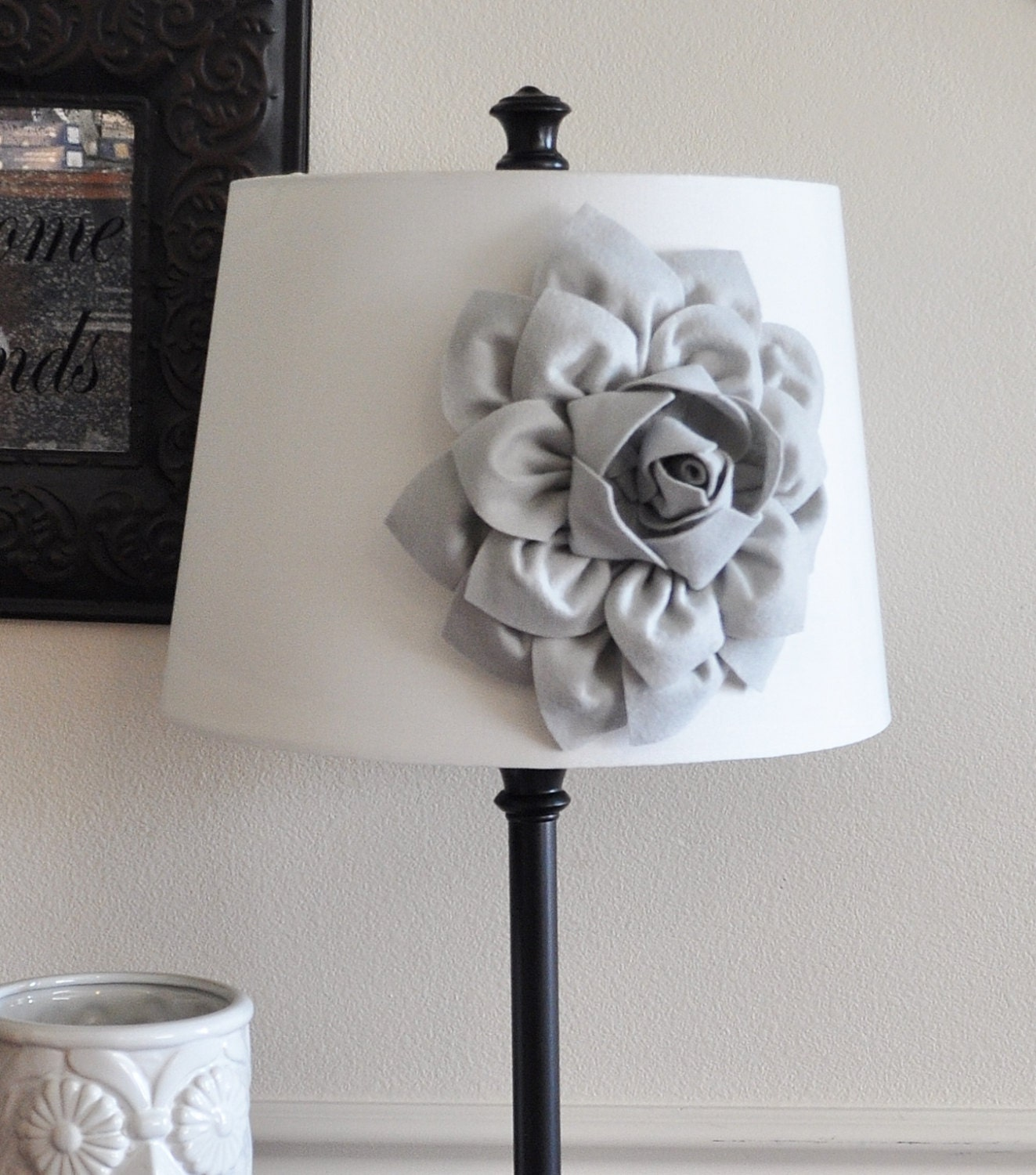 gray dahlia lampshade flower accessory magnet lamp shade. Black Bedroom Furniture Sets. Home Design Ideas