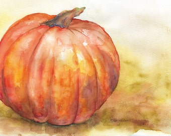 Pumpkin Watercolor Painting 5 x 7 - Giclee Print - 5.5 x 7.5 - Autumn Fall Decor