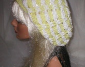 Crochet Women's Teens Yellow White Chenille Slouchy Hat Beret Slouch Hat