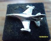 Pratt Whitney Tie Tack, General Dynamics F-16 Airplane Tie Tack, Silver Airplane Tie Tack, Pratt Whitney Tie Tack, Men's Jewelry