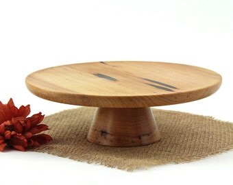 Wooden Pecan Cake Stand / Pedestal Cake Plate /Cupcake Stand