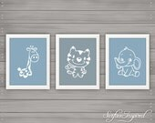 Nursery wall art print Adorable Animals Surface Inspired kids room decor custom baby print - Unframed Prints.