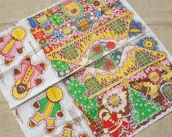 Vintage Gingerbread House Fabric Christmas Fabric Pillow Pattern Kit