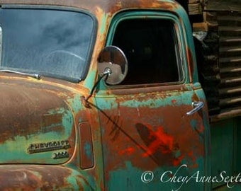 Old Seco Chevy Pickup front door rusty paint Oversized Art CANVAS Art  Really BIG Wall ART