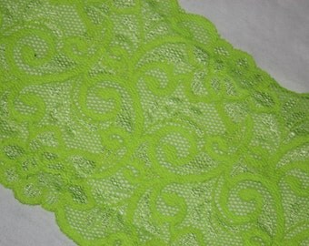 """2 yards Bright Neon Lime Green White two tone toned galloon sheer floral stretch lace 5.75"""" wide"""
