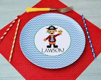 Personalized Melamine Plate / Personalized Pirate Dog Plate Blue / Personalized Plates for kids / Kids Personalized Plate