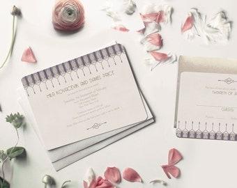Wedding Invitation Set, Lavender Wedding, 1920s Wedding Invitation, Art Deco Wedding, Great Gatsby, Custom Invitations, Gatsby Wedding