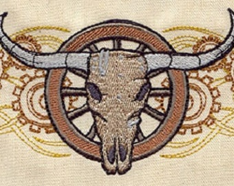 Western Steampunk - Steer Skull Embroidered Quilt Block Square OR White Cotton Hand Towel