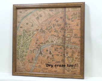 Wall Decor - Magnetic Memo Board - Magnet Board - Dry Erase Board - Framed Bulletin Board - Paris Map Design - Makeup Board - includes mags