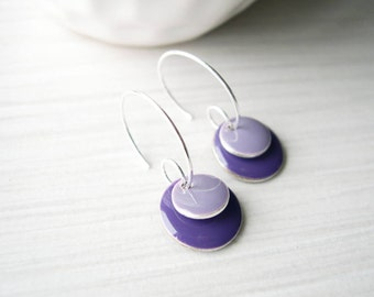 Purple Earrings, Enamel Jewelry, Modern, Contemporary, Simple, Geometric, Silver Hoops, Lilac, Grape