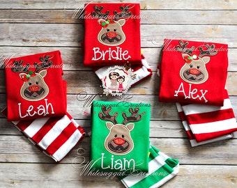Christmas Pajamas for Boy or Girl  - Unisex Christmas Striped Pajamas - Custom Red Pajamas for Kids
