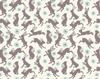 Spring Hare from Lewis and Irene - Full or Half Yard of Dancing Hares on Cream - Whimsical Bunnies Rabbits