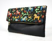 SALE!!! Black leather NORDIC HORSE Foldover Clutch | Nordic Horse patterned Foldover Clutch