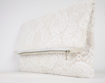 Lace clutch, fold over lace clutch, shabby chic wedding clutch