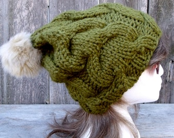 Women's Slouchy, Chunky, Cable Knit Hat in Loden Green with Tan Faux Fur Pom Pom, Slouchy Beanie, Olive Green, Winter Hat, Fur Pom Pom