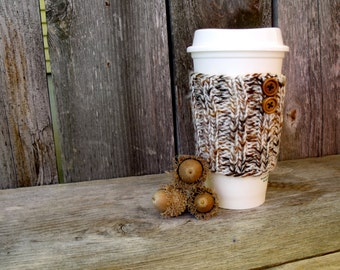 Coffee Sleeve, Coffee Cup Sleeves, Cup Sleeve in Off White, Brown, and Rust Marled Yarn with Two Natural Wood Buttons, Coffee Cup Cozy