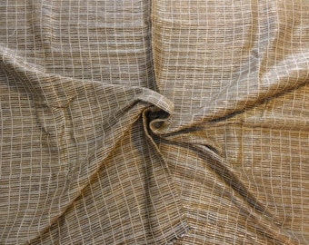 Silk Upholstery Fabric, Tan Brown & Silver Metallic Shiny Woven Fabric- Heavy Texture- 1 Yard x 48 Inches wide- Multiple Available