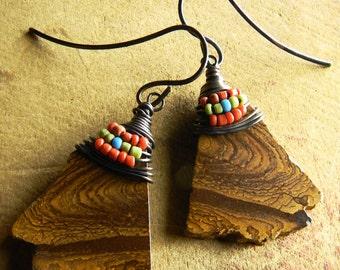 Tribal Jewelry, Tribal Earrings, Boulder Opal, Southwestern Jewelry, Southwestern Earrings, Rustic Jewelry