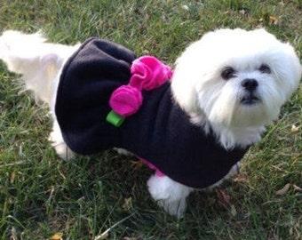 Black n Pink Rosette Dog Jacket, Dog Coat, Dog Jackets, pet clothing, made in USA