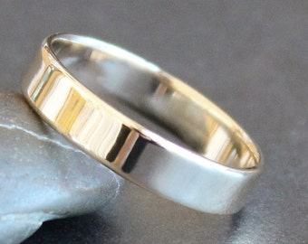 14K Solid Gold Ring - 4mm Rectangle Band - Simple UNISEX Wedding Ring (Size 4 - 12) - Shiny, Matte or Hammered