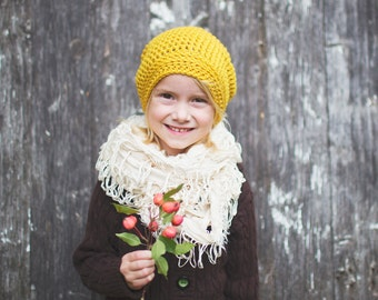 Yellow Hat for Kids, Crochet Hats for Girls, Slouchy Hat, Kids Slouch Beanie, 5T to Preteen (Reese) READY TO SHIP