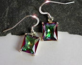 The Rainbow's End - Faceted Mystic Topaz Drop Sterling Silver Earrings