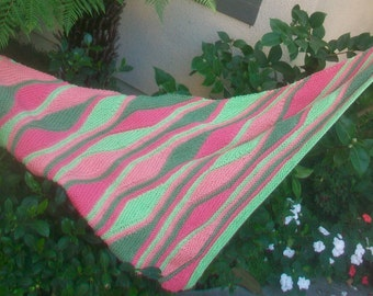 Over 50 Percent Off Sale Coral and Green Miami Merino Wool Striped Hand Knitted Triangular Shawlette or Scarf