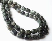 Pebbles Beads - Jasper Nugget Beads - Dark Olive Green - Gemstone Smooth Nugget Beads - Center Drilled - 16 Inch Strand - DIY Jewelry Making