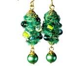 Unique Artsy Emerald Green  Earrings, Dangle,  Fiber Art Jewelry, Wearable Art, Handmade