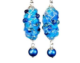 Fuzzy Unique Blue Earrings, Bead Dangle Earrings, Wire Wrapped Jewelry, Wearable Fiber Art