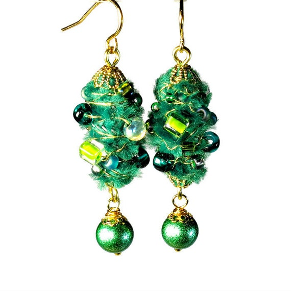 Unique Artsy Emerald Green Earrings Dangle Earrings Fiber