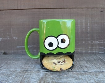 Grass Green Googly Eyed Monster Ceramic Cookie and Milk Dunk Mug - Ready to Ship!