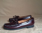 vintage 1980's Dexter tassel fringe leather loafers womens shoes size 9 1/2 M made in the USA