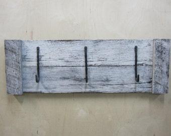 Rustic wood coat rack washed white reclaimed wood