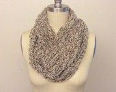 Wool cowl scarf cream and brown crocheted tube scarf