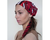 Women's Headcovering, Headwear for Hair, Tichel, HeadCover Scarf, Red Cotton Headscarf, Gifts for Her