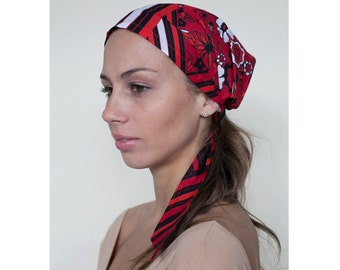 Women's Head Scarf in Red and Black Light Cotton