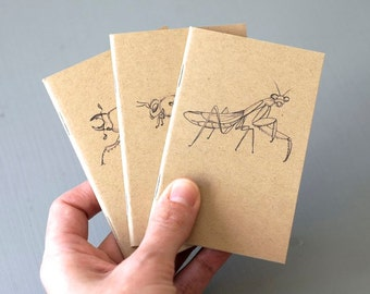 Insect Mini Notebook Set - 3 Pocket Sized Bug Jotters - Praying Mantis, Honeybee, Beetle