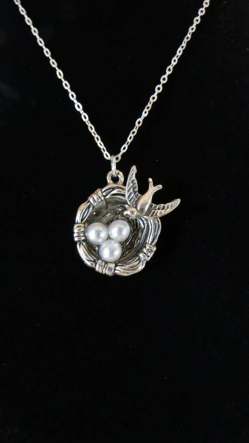 birds nest necklace costume jewelry bird pendant birds nest