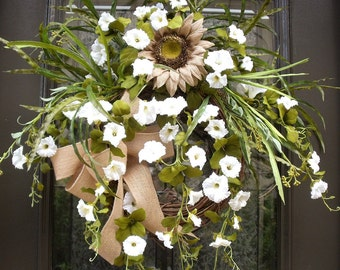 Wild Summer Wreaths, Summer Wreath For Front Door, Burlap Sunflower Wreath, White Wreaths, Morning Glory Wreath