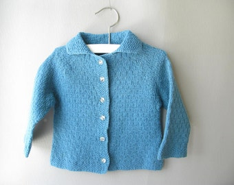 Vintage Child's hand knit Cardigan, Sweater, Toddler, Blue,Girls