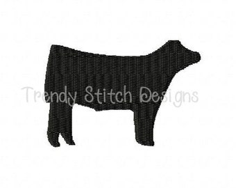 Show Steer MINI Machine Embroidery Design Made To Match Filled Stitch INSTANT DOWNLOAD