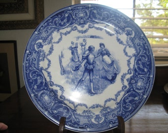 ETSY TREASURY ITEM Beautiful Antique Royal Doulton England Collectable Plate 1910s Blue and White/Home and Living/Dining Serving Plate