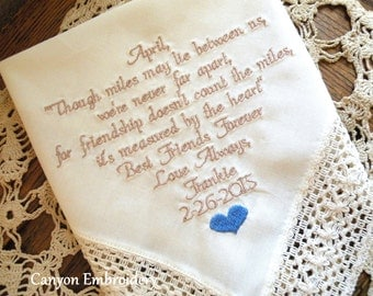 Best Friend Wedding Gift, Personalized Best Friend Gift, Ivory, Wedding Handkerchief, Gift for Wedding, Best Gril Friend Canyon Embroidery