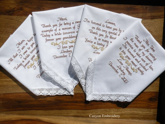 Wedding Gift Ideas Embroidered : Embroidered Wedding Handkerchief, Wedding Gift, Gifts for Mom, Mother ...