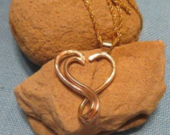 Ring Holder Necklace Open Heart Charm Pendant 14k Rose Gold Fill Ready to Ship  JJDLJewelryArt