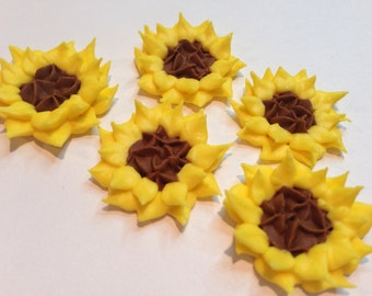 Lot of 100 Royal Icing sunflowers